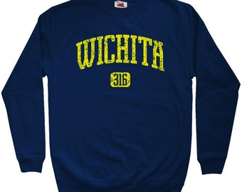 Wichita 316 Sweatshirt - Men S M L XL 2x 3x - Crewneck Wichita Kansas Shirt - 4 Colors