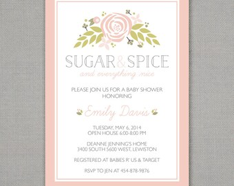 Baby Shower Invitation // Girl // Sugar and Spice // Floral // Pink + Green