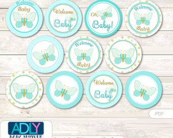 Neutral Butterfly Cupcake Toppers for Baby Shower Printable DIY, favor tags, circles, It's a Neutral, Aqua- oz88bs0