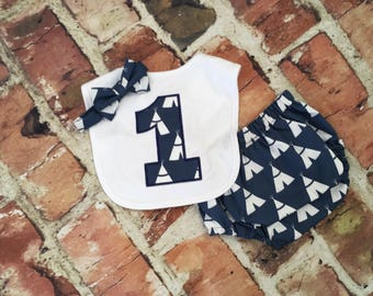 Boy Navy Tee Pee diaper cover - bib - first birthday outfit - first birthday hat - tie - Monogram - Initials - handmade - photo shoot