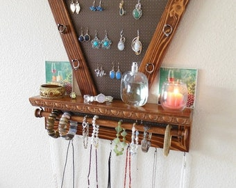 BIG SALE 20% OFF Beautiful Chestnut Stained Jewelry Organizer, Wall Jewelry Organizer, Necklace Organizer