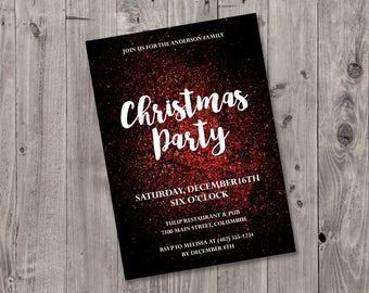 Glitter Christmas Party Invitation