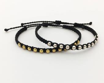 Macrame bracelets silver and gold balls Vermeil