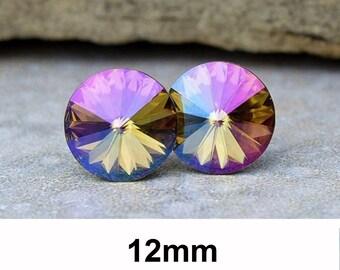 Purple Haze Studs. Large Earrings, Rivoli Studs, Swarovski, Crystal Studs, Stud Earrings, Special Effects, 12mm Earrings, Pierced, Rostone