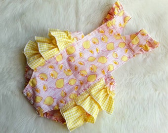 Pink Lemonade Baby Romper - Baby Romper - Pink - Yellow - Lemon Romper - Girl Romper - Toddler Romper - Vintage look -Sunsuit - Photo Prop