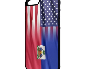 Haitian American Flag iPhone Galaxy Note LG HTC Hybrid Rubber Protective Case Haiti
