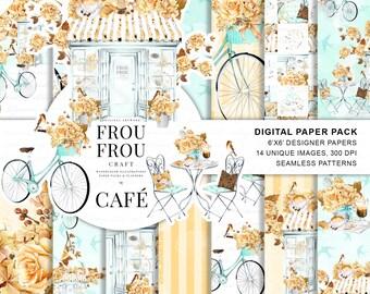 Paris Paper Pack Coffee Digital Backgrounds Watercolor Bakery Seamless Patterns Cafe Printable Pad Retro Shop Planner Supplies Mint Orange