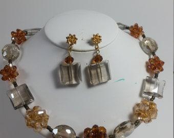 Necklace nd earrings set, necklace, earrings