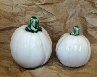 Set of Two White Porcelain Pumpkins for Fall/Winter Decor