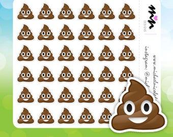 Poop Emoji, Poop Emoji Stickers, Poop Stickers, Emoji Stickers, Emoji, Poo Poo - Perfect for Planners and - MN086