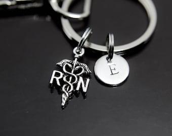 Caduceus Keychain, Medical Symbol Charm, Nurse Charm, Registered Nurse Charm, RN Nurse Keychain, RN Charm, Caduceus Medical Symbol Charm