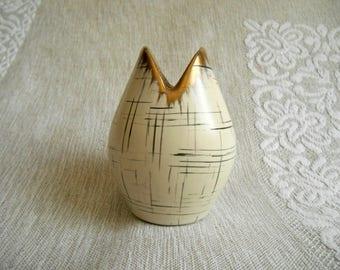 vintage fish mouth vase 440 10 / Ü Keramik / Johann Übelacker / Germany / 1950s