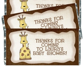 Giraffe Baby Shower Candy Wrappers - fit over 1.55 oz chocolate bars