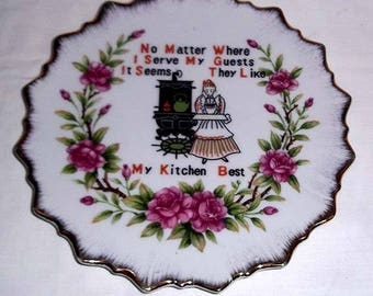 Vintage 1950's My Kitchen Best Collectors Plate to Hang on the Wall - Country or Dutch Kitchen Decor - Gold Trim
