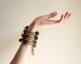 Wrap bracelet, Boho  bracelet,  Black agate bracelet, african jewelry, gypsy bracelet, boho bracelet, boho jewelry, gift for her