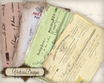 Cheque Ephemera Papers 6 x 4 inch printable craft art hobby crafting scrapbooking instant download digital collage sheet - VD0470
