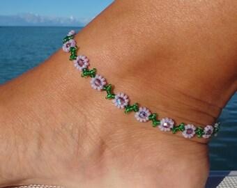 Anklet, ankle bracelet, Purple Daisy Anklet - Flower Ankle Bracelet - Beaded Jewelry