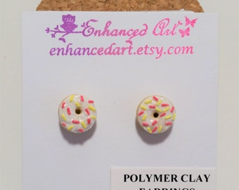 Donut earrings/vanilla donuts/polymer clay donut earrings/white, pink, and yellow sprinkle donut earrings/mini donuts/polymer clay earrings/
