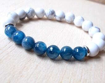 Kyanite Bracelet, Natural Blue Kyanite Jewelry, Kyanite Bead Bracelet, Womens / Mens Gemstone Bracelet, Stretch Yoga Bracelet, Healing Gifts