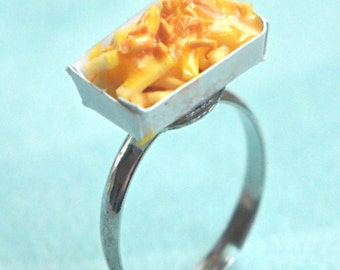 cheese french fries ring  -miniature foods jewelry, food ring