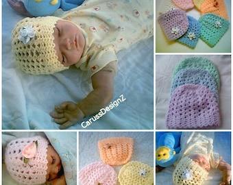 0007 Unisex Baby Pattern,Multiple Size Baby Hat,BabyGirl Pattern,Baby Boy Pattern Crochet Beanie,Infant Hat,Preemie Beanie by CarussDesignZ