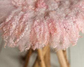 Curly Round Felted Blanket Newborn Photography Props Wool Stuffer Curly Felt DUSTY ROSE, PASTELS