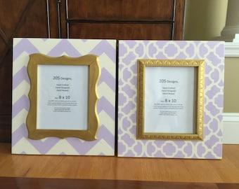 8x10 frames, lavender and gold moroccan frame, lavender chevron frame