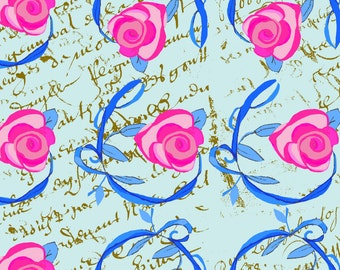 Shabby Chic Roses & Vines on French Script, fabric by the yard