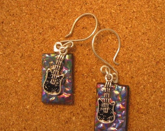 Dichroic Earrings - Fused Glass Earrings - Purple Earrings - Glass Earrings - Dangle Earrings - Dichroic Jewelry - Fused Glass Jewelry