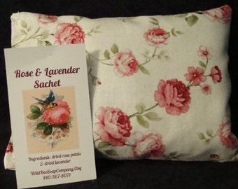 Rose & Lavender Sachet, Sachet, Herbal Pillow, Rose Sachet, Lavender Sachet, Lavender, Roses, Herb Pillow, Scented Sachet, Valentine's Day