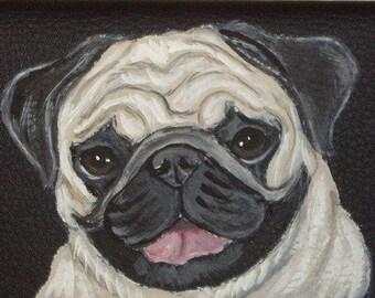 Pug Dog Custom Hand Painted Designer Ladies Leather Wallet Vegan