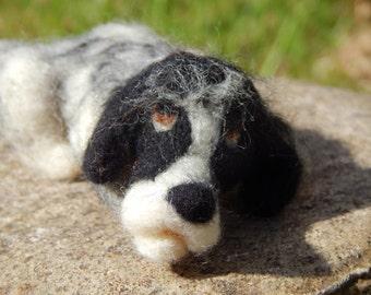 Custom Needle Felted Dog - Example  Blue Roan Cocker Spaniel  Dog art soft sculpture.