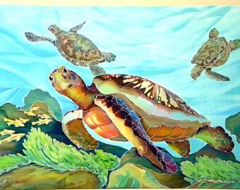 Sea turtles gift Painting on silk batik wall hanging Original painting Wall Art Decor home decor Underwater Interior Decoration 20 /28