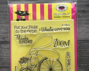 The Cats Pajamas Wheelie Love You Clear Stamp Set