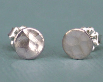 Sterling Silver Little Buttons, sterling silver posts, hand hammered sterling silver earrings. button earrings, women, eco friendly, bridal