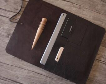 "initials MacBook Air Case Sleeve, 12"" MacBook Covers, Custom Laptop Case for MacBook Pro, All Laptops - Premium Italian Veg Tanned Leather"