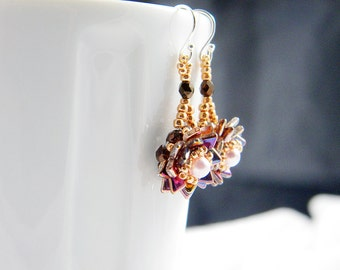 """Ready to Ship Crystal Copper AB Rose Gold Dragonscale and Swarovski Pearl Beadweaving Earrings """"Dragonflower"""""""