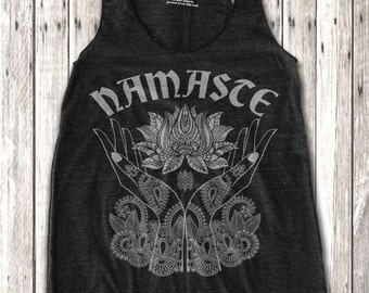 Namaste and Lotus Print  Women's Racerback Tank Top