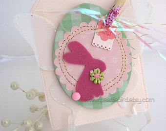 Shabby Chic Bunny Rabbit Card~arty tag shape card~baby shower card~velveteen rabbit~Easter Bunny~pink~green~blue~yellow~lavender~kraft