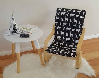 Children's ikea chair coverslip/poang cover/kids cover/monochrome seat/kids decor/woodland bedroom/