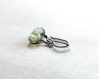 Oxidized Silver Woven Prehnite Drops: Oxidized Sterling Silver Herringbone Woven Mint Green Faceted Prehnite Rounds Earrings Unique