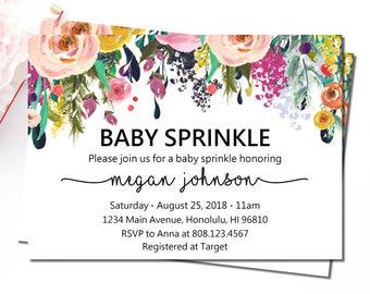 Baby Sprinkle Invitation, Spring Summer Floral Baby Shower Invitation, Gender Neutral Baby Shower Invitations Printable, C17