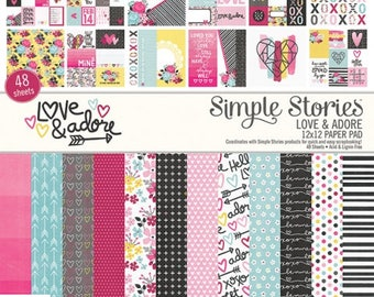 Love and Adore 12X12 Paper Pad by Simple Stories, 48 pages for scrapbooking, pocket letters/scrapbooking, papercrafing, card making