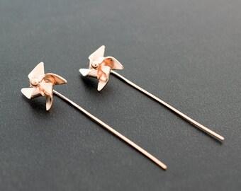 Pinwheel earrings, rose gold earring studs, origami earrings, hypoallergenic earrings, cute earrings, quirky earrings