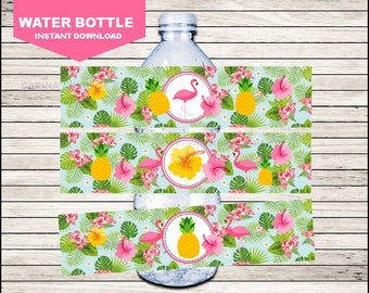 Flamingo Water Bottle Label instant download, Pineapple Bottle labels, Pink Party Pool Party water Labels