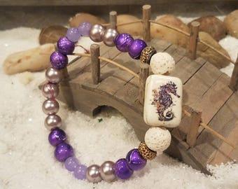 Seahorse lava bead bracelet
