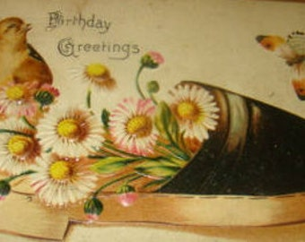 SALE Cute Vintage Postcard, (Chick,Daisies, and a Shoe)