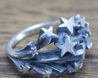 Meteor stream Ring,Star ring,Meteor ring,delicate hand carving,925,Solid Sterling Silver,Brass