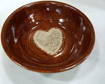 Red Garlic grater bowl with heart design. Handmade  pottery. Dipping bowl