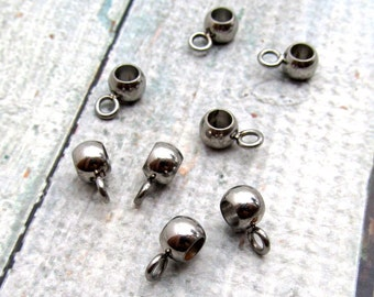Stainless Steel Bead - Large Hole Bead - Set of 10 SST Findings 5x6.5mm - Connector Bead - Seamless Beads (069)